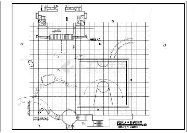 图纸 园林设计图 道路地面铺装 运动场地 福建某院内篮球场塑胶地面