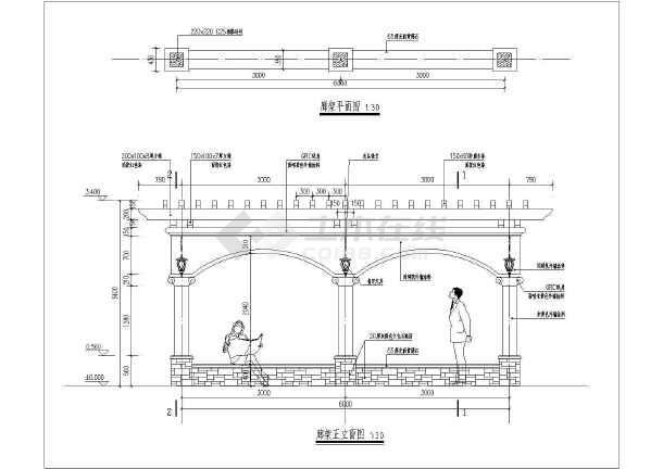 小品及配套设施 亭子与廊设计图 园林设计中常见欧式廊架设计施工图