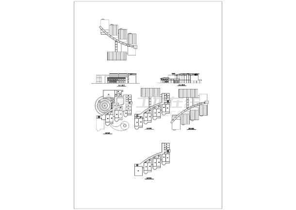 某地三层幼儿园建筑总平面图,立面图