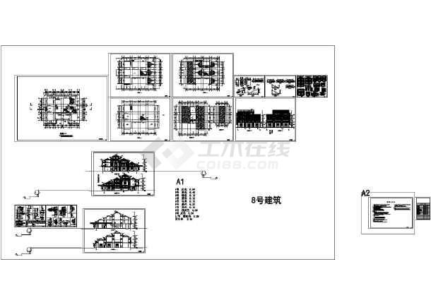 图纸 建筑图纸  别墅图纸  别墅设计图  仿古建筑别墅施工图  仿古
