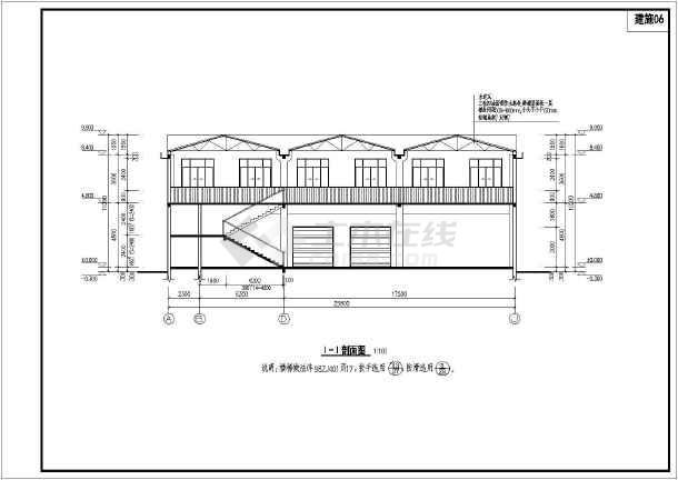 某三跨框架结构厂房建筑结构设计施工图