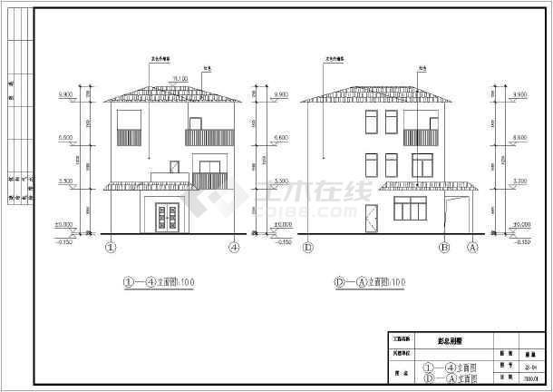 某三层框架结构农村别墅建筑施工图_cad图纸下载-土木