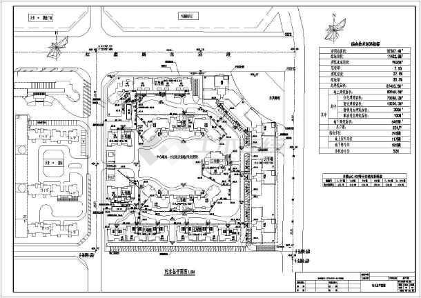 万景臻席小区给排水设计总平面图纸