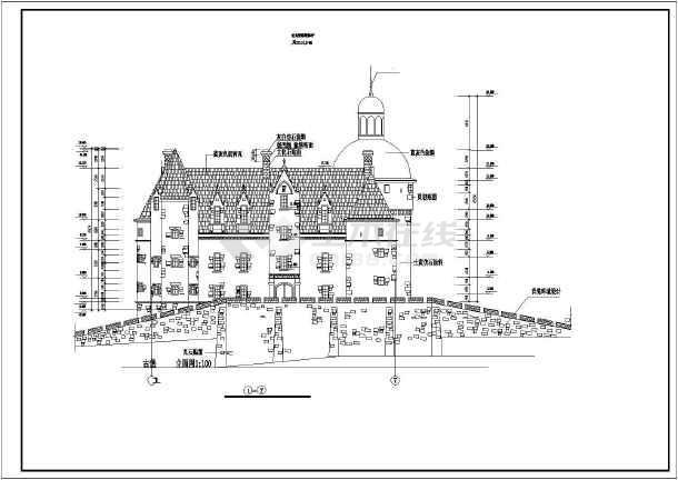 某地3层混凝土框架结构欧式古城堡建筑施工图