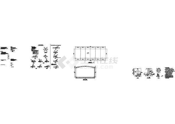 某地单层拱形管桁架厂房整套施工图纸图片1