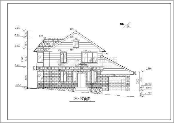 北方某地两层别墅楼建筑设计方案图