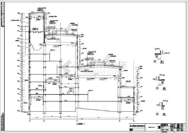 马钢霍邱张庄多层框排架结构矿工业厂房建筑施cad吊篮图片