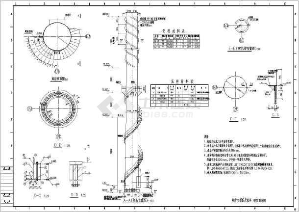 简单实用的烟囱立面图及底座和破风圈结构构造设计图(标注齐全)图片