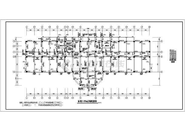 某八层办案技侦综合楼结构设计施工图,包括桩位平面布置图,基础图片