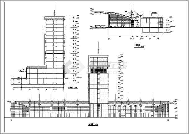 青岛】某十四层框架结构长途汽车站建筑设计方案图  相关专题:平剖面