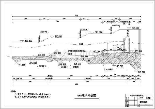 水利水电技施闸坝某结构图纸布置v闸坝阶段_ckeancad图片
