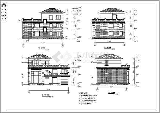 某地三层砖混结构别墅建筑设计施工图