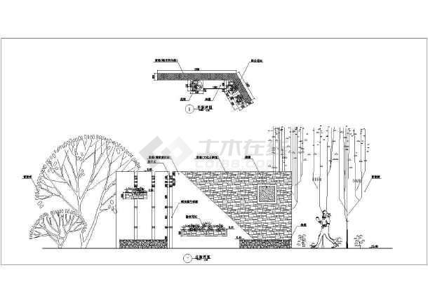 新中式景墙小品详细平面图及立面图设计