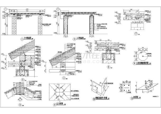 某地亭廊连体小品景观施工图(平面图,立面图,节点详图