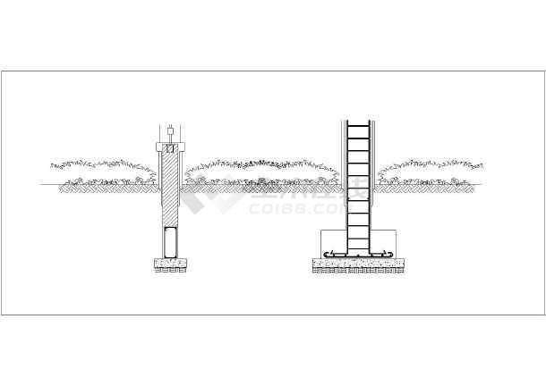 图纸内容包括围墙柱平面图,立面图,剖面图及铁艺栏杆大样图等,图纸