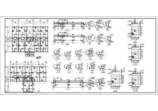 某地结构底框图纸办公楼图纸施工图_cad结构cad二层之间不同复制图片