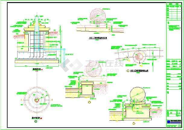 园林景观小区入口绿化装饰旗台设计施工图图片1