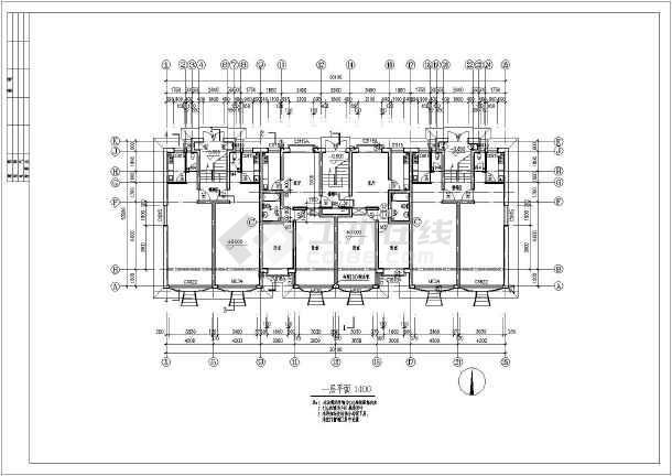 四层六户联排阁楼别墅建筑设计图(含楼梯及门窗图)图片1
