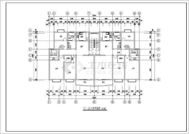 某精品小区多层住宅户型设计平面图