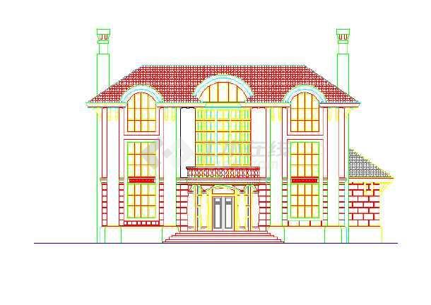 某地区的某别墅的夹具外立面图(CAD图)cad小区钻床要求图片