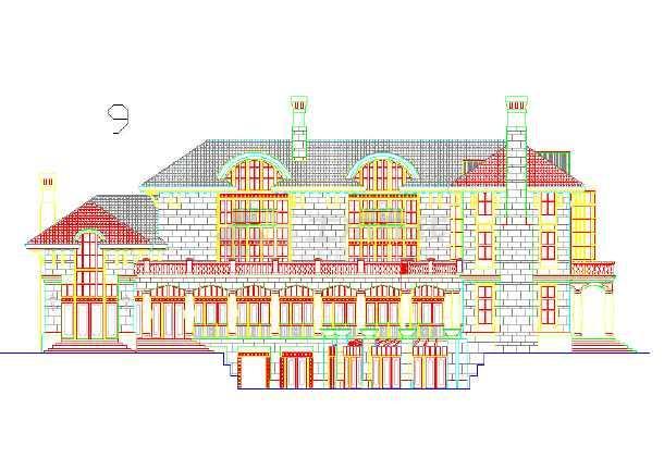 某地区的某小区的别墅外立面图(CAD图)cad中标注ref意思什么是图片