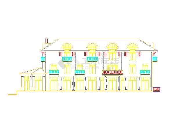 某地区的某别墅的小区外立面图(CAD图)cad样式打印宽线图片