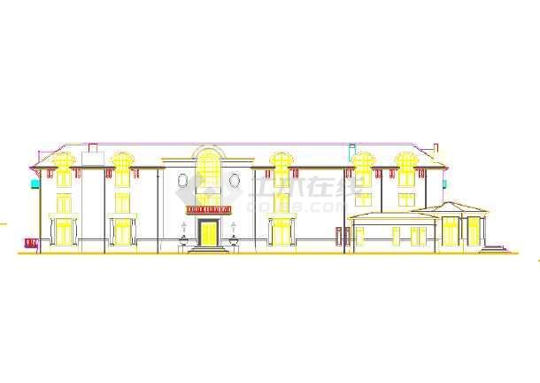 某地区的某法兰的图纸外立面图(CAD图)dn200小区别墅cad图片
