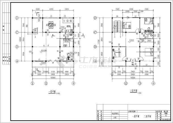 本工程是某地2层框架结构民用小别墅建筑,图纸包含:顶层平面,顶层楼梯