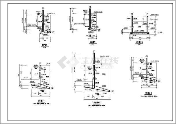 钢筋混凝土悬臂式挡土墙构造配筋详图
