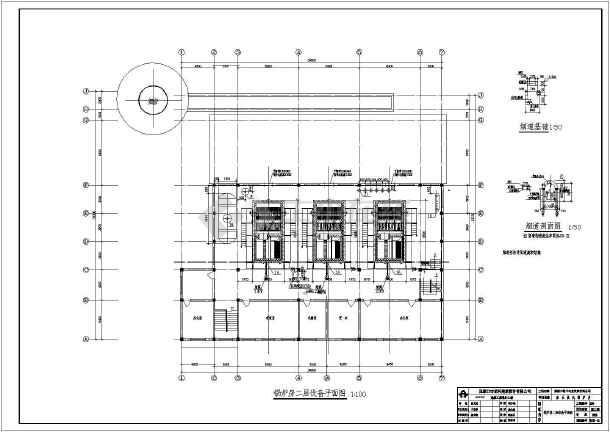 三台燃煤蒸汽锅炉锅炉房暖通设计图