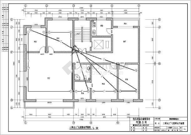 包头六层框架剪力墙结构住宅楼建筑结构施工图(含水电