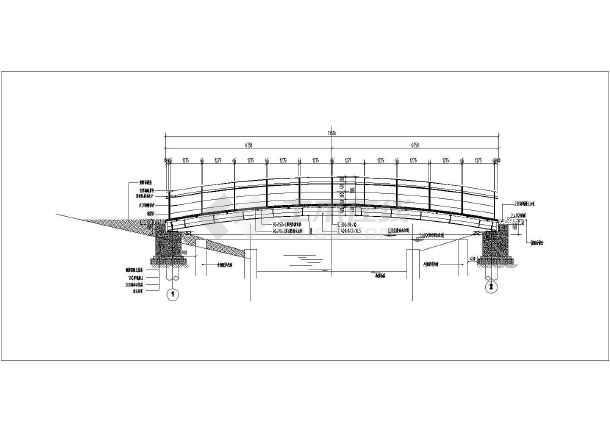 三套景观钢结构木饰面桥设计施工图纸