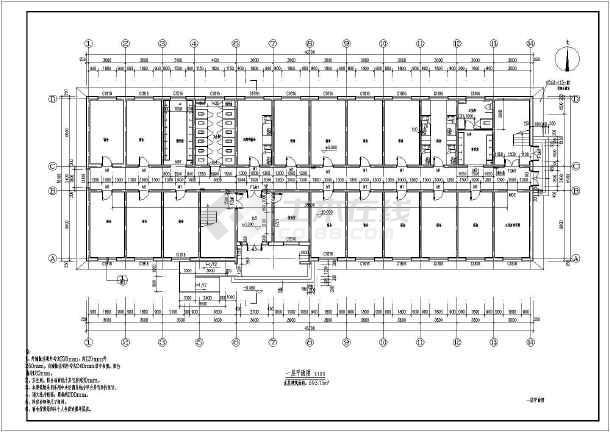 某乡镇学校五层宿舍楼建筑设计施工图
