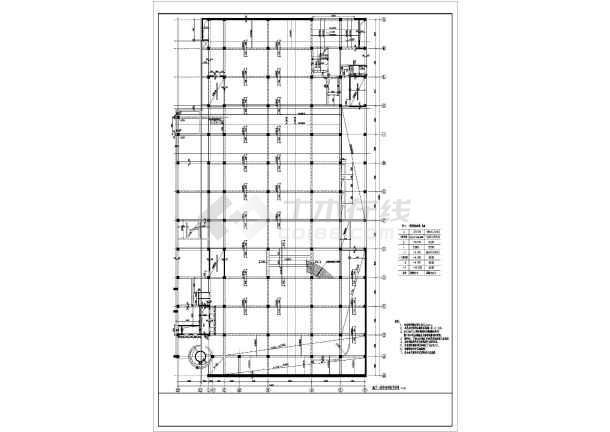 结构形式为大跨度框架结构,局部采用钢骨混凝土,跨度非常大,建筑