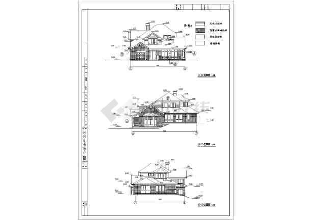 某地区二层山地框架结构别墅建筑施工图