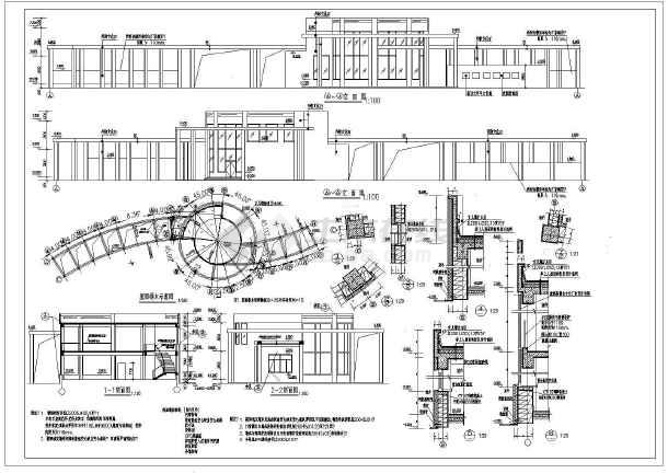 辽宁某地两层框架结构大学正门建筑设计方案图纸