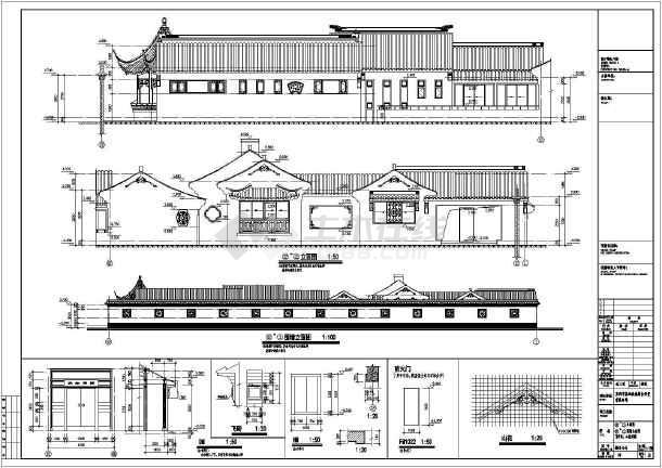 【苏州】一层框架结构仿古别墅建筑建筑设计施工图纸