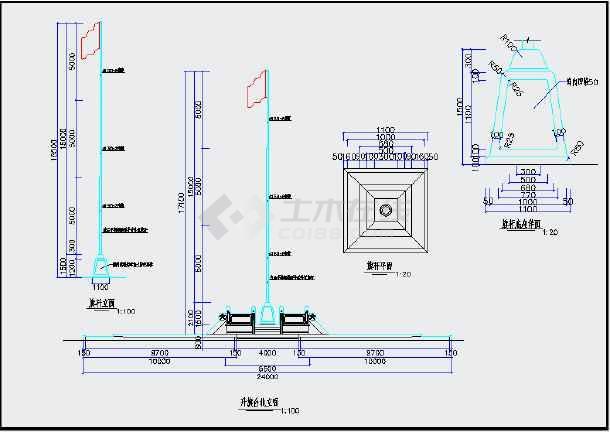 升旗台旗杆建筑结构设计图