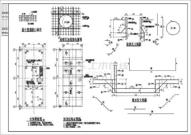 某地区地下消防水池结构设计施工图纸
