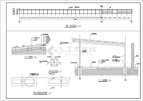 某单层钢结构车棚建筑设计方案图纸图片1