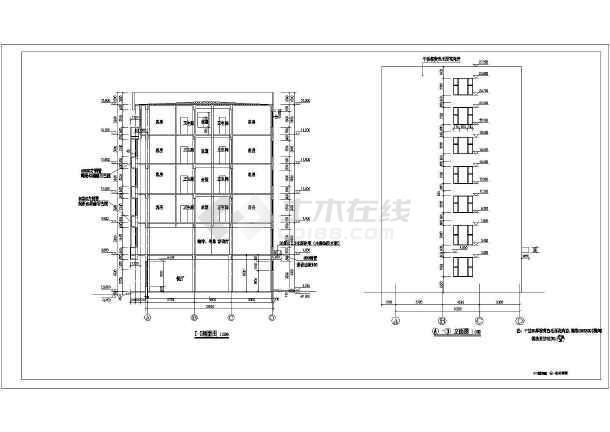 北方某地6层结构图纸宾馆建筑设计图纸腰椎_二维方案框架图片