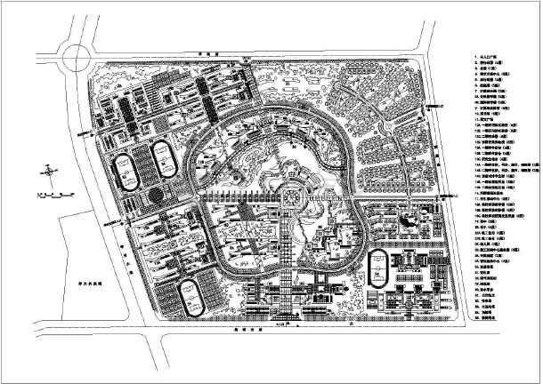 南方某大学校园总平面规划设计方案图片1