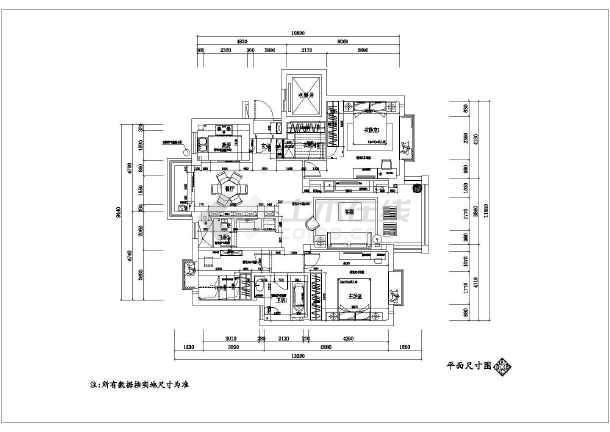 某地现代中式图纸130平方图纸平面设计风格家装马报图片
