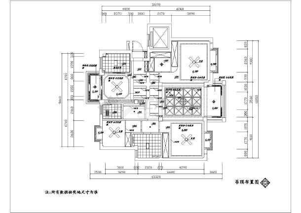 某地现代中式家装130平方图纸平面设计闸阀软v家装图纸风格图片