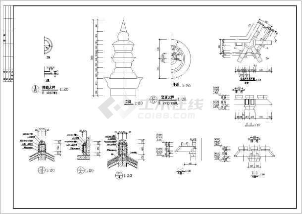 某两层框架结构仿唐凉亭建筑施工图