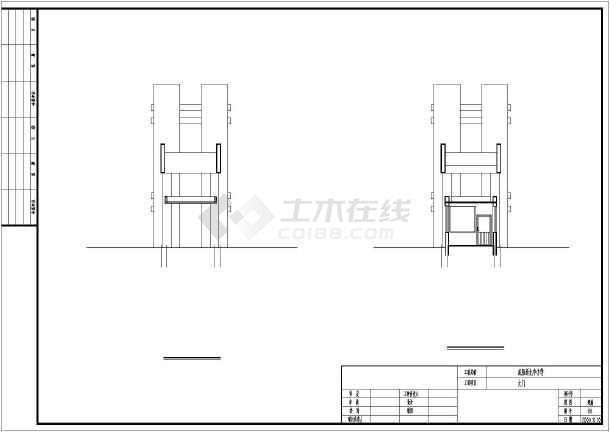 某小学校大门建筑电路给排水设计cad施工图_消防设计文件和设计图图片