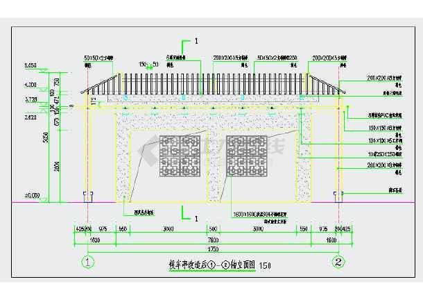 某钢结构中式候车亭建筑玩偶皮图纸图纸图片