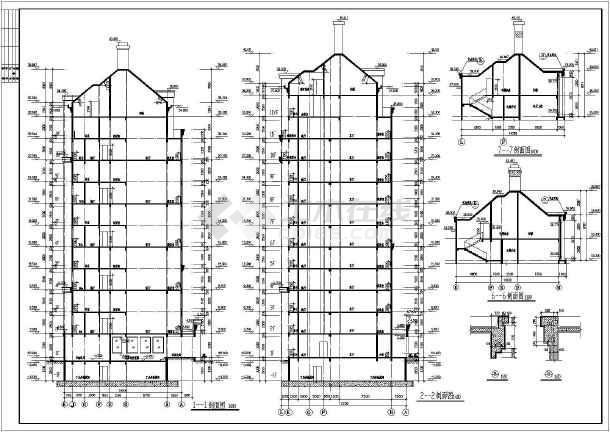 装修表,各层平面,屋顶平面图,立面图,剖面图,电梯详图,节点详图,墙身