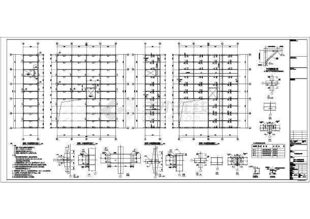 墙面支撑系统布置图,屋面结构布置图,钢楼梯详图,剖面图,屋面檩条布置