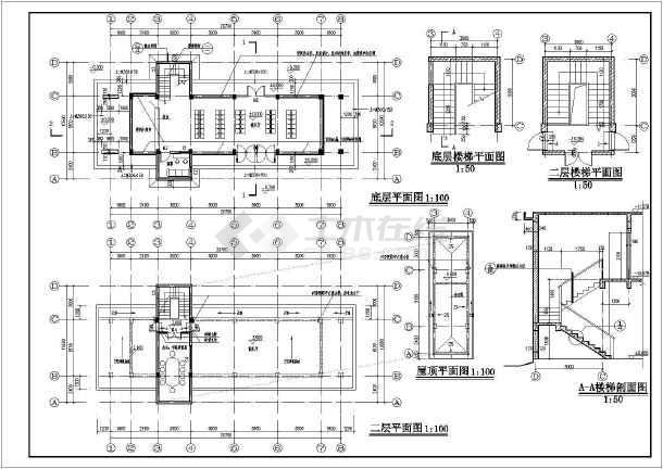 某地两层小型汽车站建筑设计方案图_cad图纸下载-土木